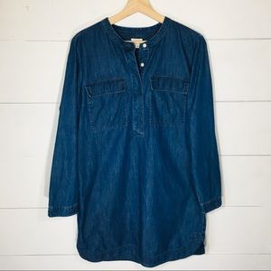 J. CREW Denim Shirt Jean Dress LP Large Petite EUC